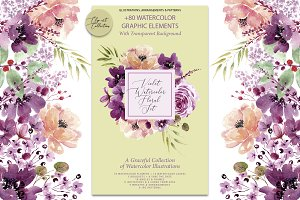 Violet Watercolor Floral Set