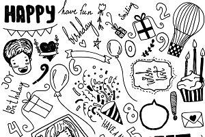 Set of handdrawn doodle elements