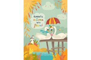 Cute romantic swans in autumn park