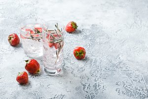 Strawberry and rosemary drink