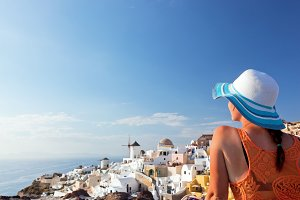 Woman enjoying holidays, Santorini