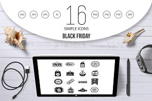 Black Friday icons set, simple style