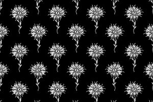 Hand Drawn Flower Motif Seamless Pat