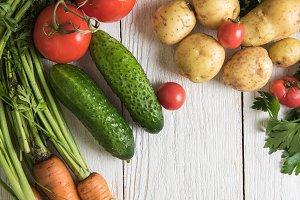 freshly grown raw vegetables