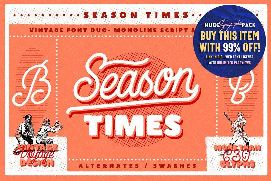 Season Times • Vintage Font Duo ~ Display Fonts ~ Creative Market