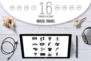 Brazil travel symbols icons set