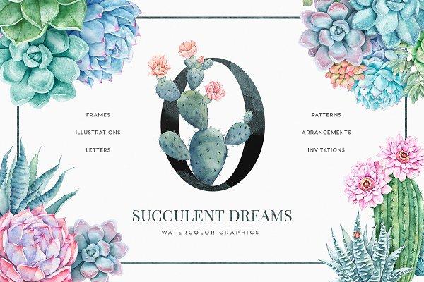 Succulent Dreams Watercolor Florals