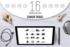Canada travel icons set, simple