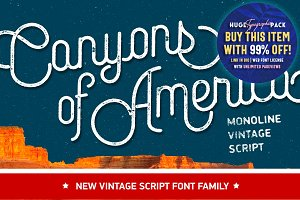 Canyons • Vintage script font family