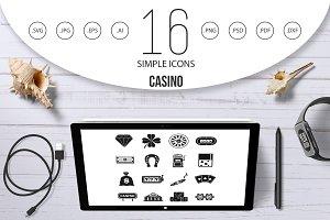 Casino icons set, simple style