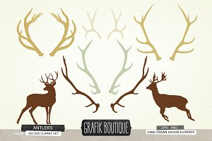Deer Silhouettes For Crafters Pre Designed Illustrator Graphics Creative Market