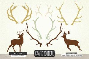 Antlers deer silhouette vector clip