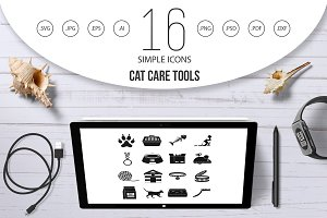 Cat care tools icons set, simple