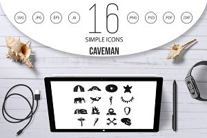 Caveman icons set, simple style