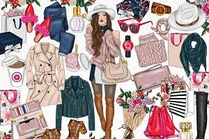 Fall Style Fashion Girl Clip Art