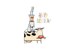 Birthday Cartoon Farm Animals Card