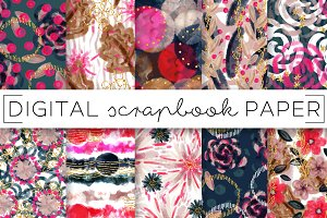 Fall Florals Painterly Digital Paper