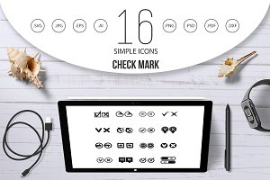 Check mark icons set, simple style