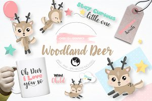 Woodland Deer graphics illustration
