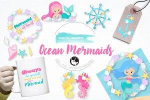 Ocean Mermaids graphics illustration