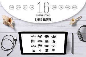 China travel symbols icons set