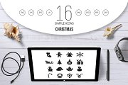 Christmas icons set, simple style