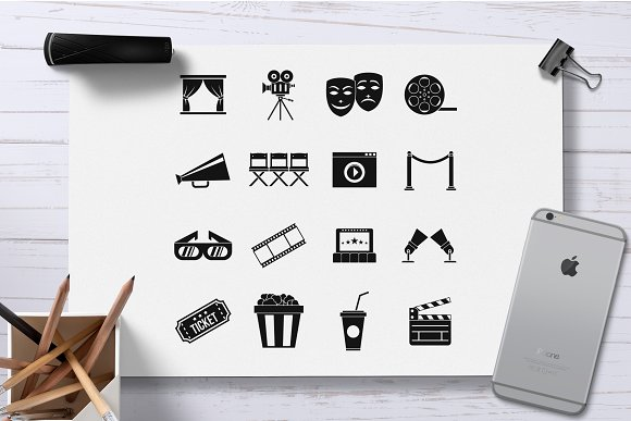 Cinema icons set, simple style in Graphics - product preview 1