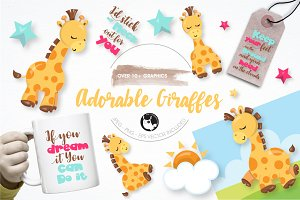 Adorable giraffe graphics