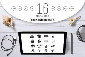 Circus entertainment icons set