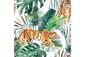 Tropical Pattern With Tiger