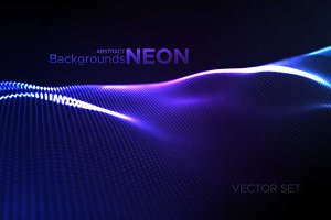 Abstract neon wave backgrounds set