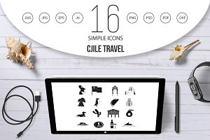 Chile travel icons set, simple style
