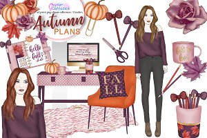 Watercolor Autumn Planner Clipart