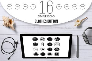 Clothes button icons set, simple