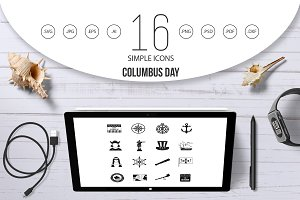Columbus Day icons set, simple style