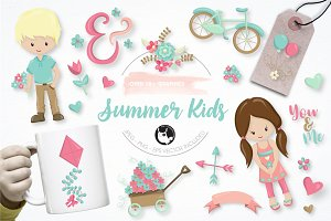 Summer kids graphic illustrattion