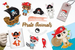 Pirate animals graphics illustration
