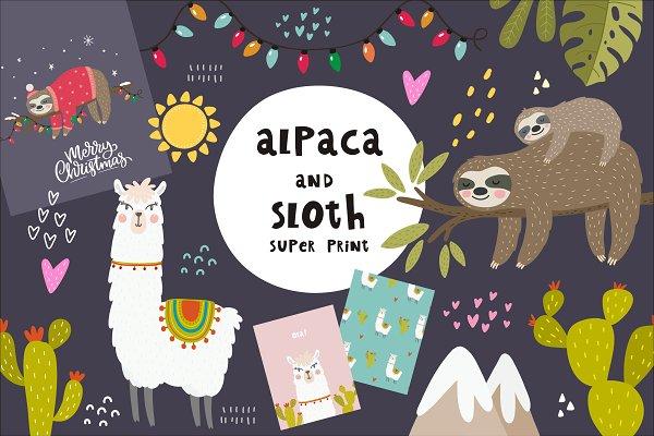 Alpaca and Sloth. Christmas Sloth