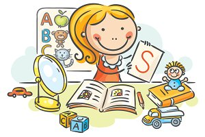 A kids speech therapist with toys