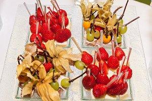 snacks from fruit on skewers