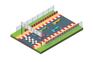 Racing Finish Line Isometric View.