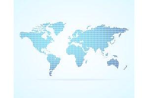 Dot Map Global World. Vector
