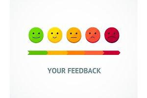 Feedback Line Emoticon. Vector