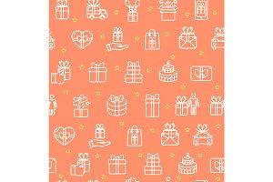 Present Gift Pattern Background.