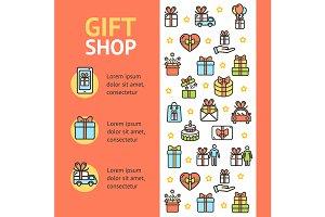 Gift Shop Banner Vecrtical. Vector