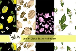 Set with 4 Citrus Seamless Patterns