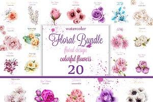 Vector Bundle 20 watercolor flowers