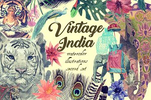VintageIndiaIllustrations PSDJpegPNG