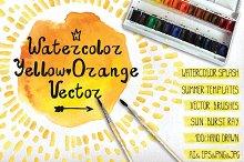 Watercolor Orange,yelow vector set