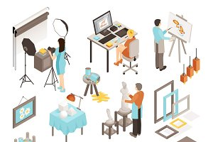 Art design studio isometric set